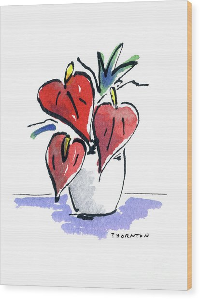 Anthurium Vase Wood Print