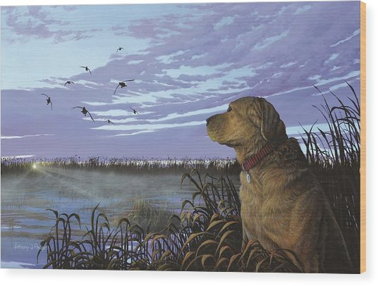On Watch - Yellow Lab Wood Print