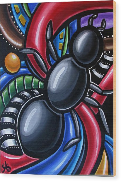 Ant Art Painting Colorful Abstract Artwork - Chromatic Acrylic Painting Wood Print