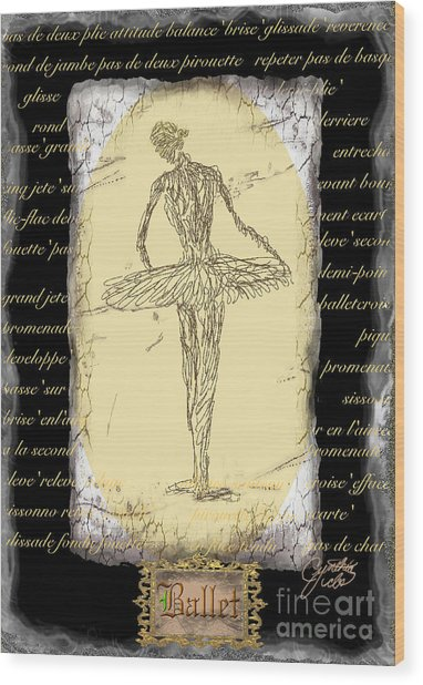Antique Ballet Wood Print by Cynthia Sorensen