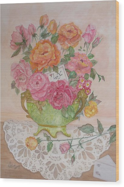 Antique Bowl With Roses Wood Print
