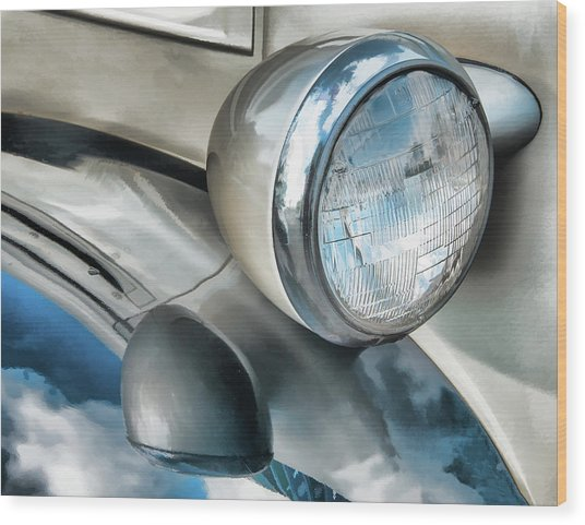Antique Car Headlight And Reflections Wood Print