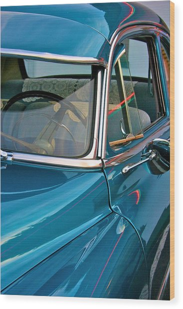 Antique Car With Neon Reflections Wood Print