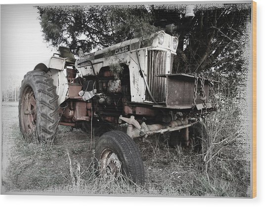 Antique Case Tractor Wood Print