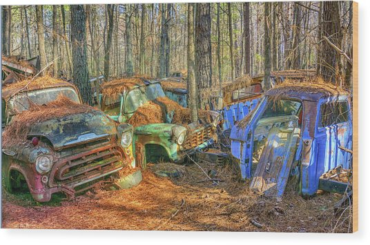 Antique Trucks Wood Print