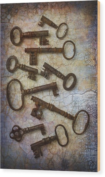 Antique Keys Collection Wood Print