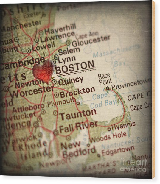 Antique Map With A Heart Over The City Of Boston In Massachusett Wood Print by ELITE IMAGE photography By Chad McDermott