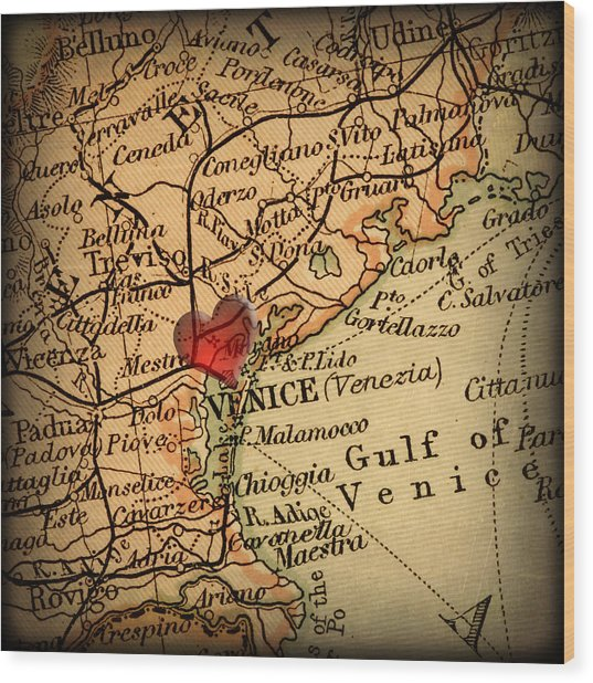 Antique Map With A Heart Over The City Of Venice In Italy Wood Print by ELITE IMAGE photography By Chad McDermott