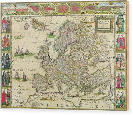 Antique Maps Of The World Map Of Europe Willem Blaeu C 1650 Wood Print