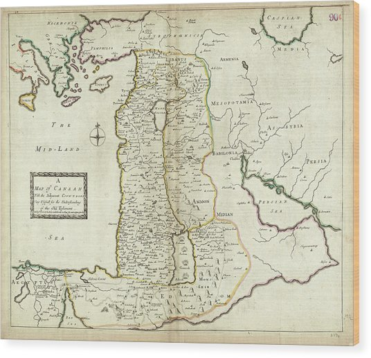 Antique Maps - Old Cartographic Maps - Antique Map Of Canaan Wood Print