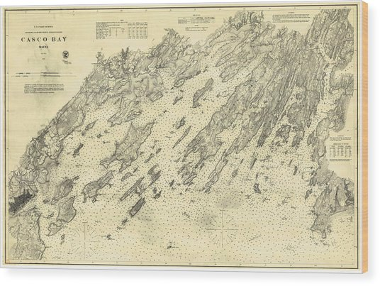 Antique Maps - Old Cartographic Maps - Antique Map Of Casco Bay, Maine, 1870 Wood Print
