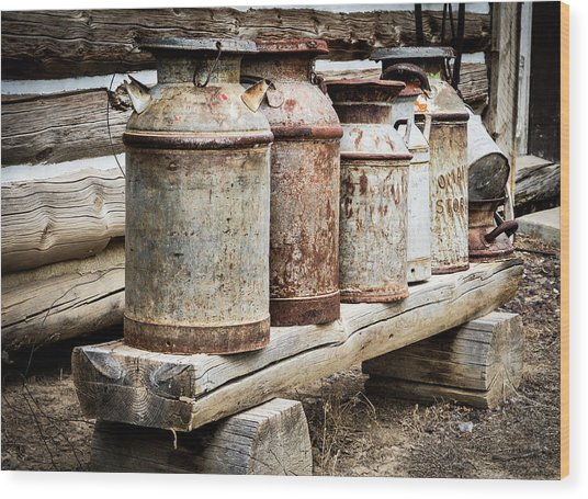 Antique Milk Cans Wood Print