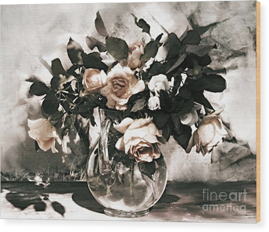 Antique Roses Wood Print