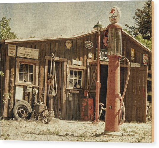 Antique Service Station Wood Print