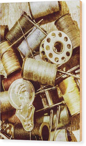 Antique Sewing Artwork Wood Print