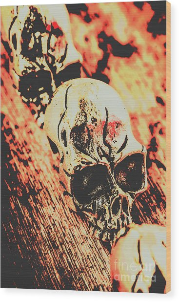Antique Skull Scene Wood Print