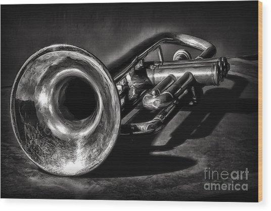 Antique Trumpet 1 Wood Print