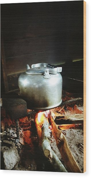Antique Water Kettle On A Fire In Malaysia Wood Print by Gosta Eger