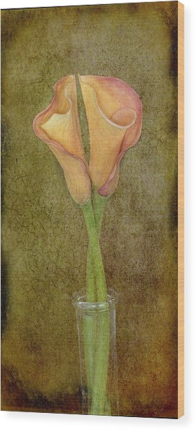 Antiqued Lilies Wood Print