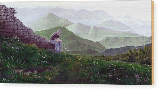 Antonio Atop La Rocca De Monte Calvo Wood Print