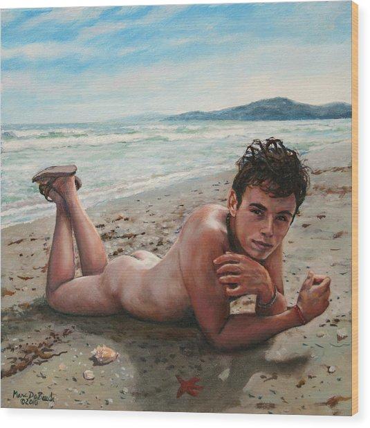 Antonio En La Playa Wood Print