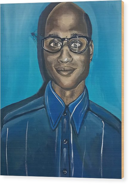 Black Man Cartoon Art, Nerd Guy With Glasses, Painting Wood Print