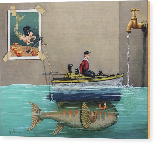 Anyfin Is Possible - Fisherman Toy Boat And Mermaid Still Life Painting Wood Print