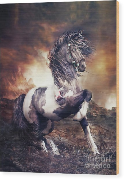 Apache War Horse Wood Print