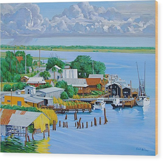 Apalachicola Waterfront Wood Print by Neal Smith-Willow