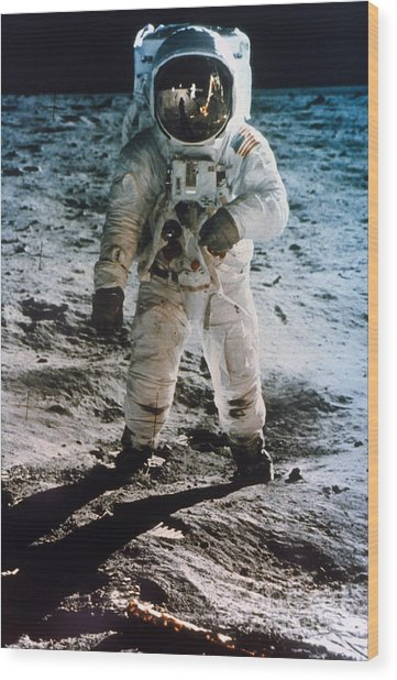 Apollo 11 Buzz Aldrin Wood Print