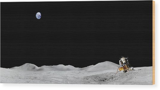Apollo 15 Landing Site Panorama Wood Print