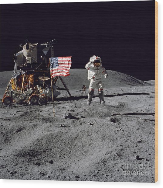 Apollo 16 Astronaut Leaps Wood Print