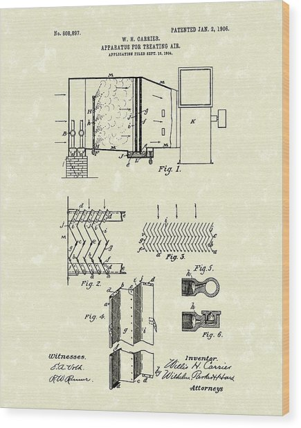 Apparatus For Treating Air 1906 Carrier Patent Art Wood Print