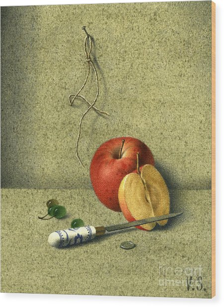 Apple And Knife Wood Print by Victor Sap