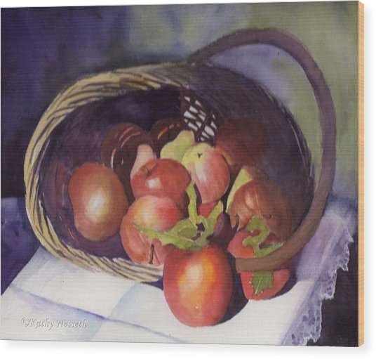 Apple Basket Wood Print by Kathy Nesseth