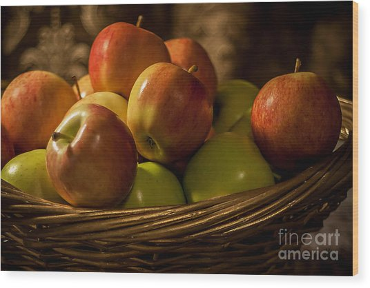 Apple Basket Wood Print