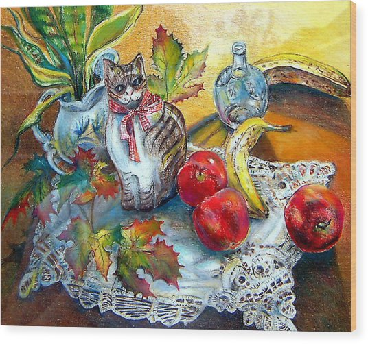 Apple Cat Wood Print