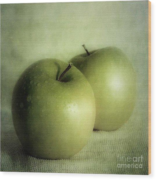 Apple Painting Wood Print