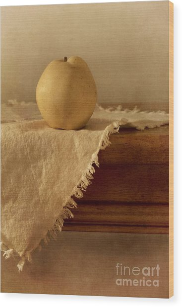 Apple Pear On A Table Wood Print