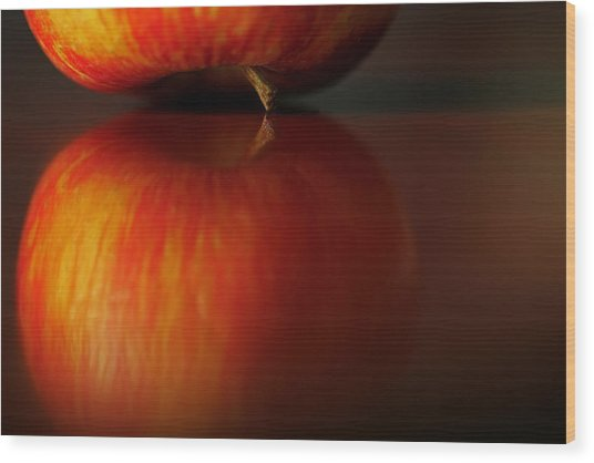 Apple Reflection Wood Print