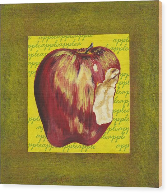 Apple Series Number Two Wood Print by Sonja Olson