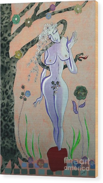 Apple, Snake, Woman -- Eve In Garden Of Eden, #4 In Famous Flirts Series Wood Print