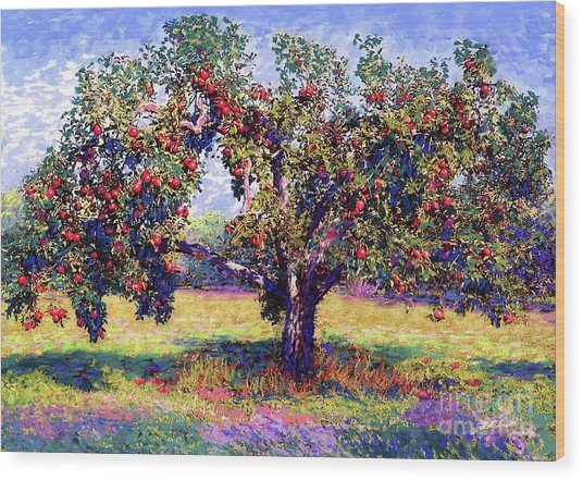 Apple Tree Orchard Wood Print