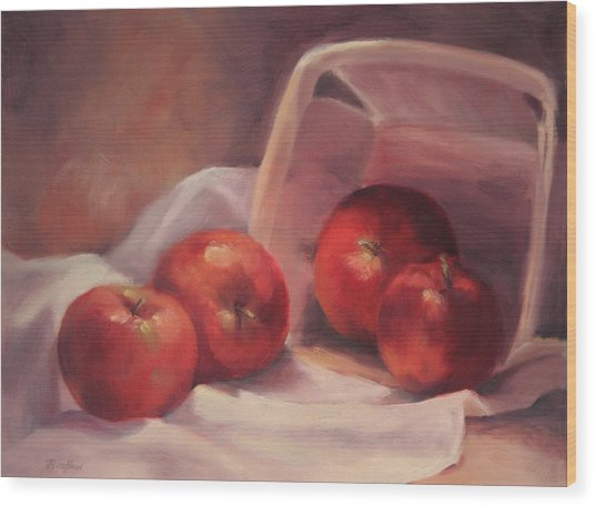 Apples And  Basket Wood Print