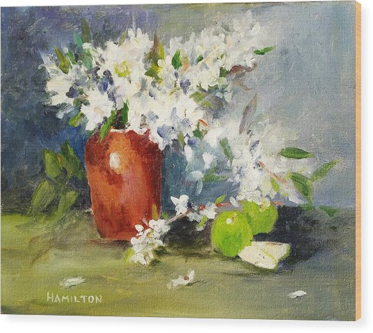 Apples And Blossoms Wood Print