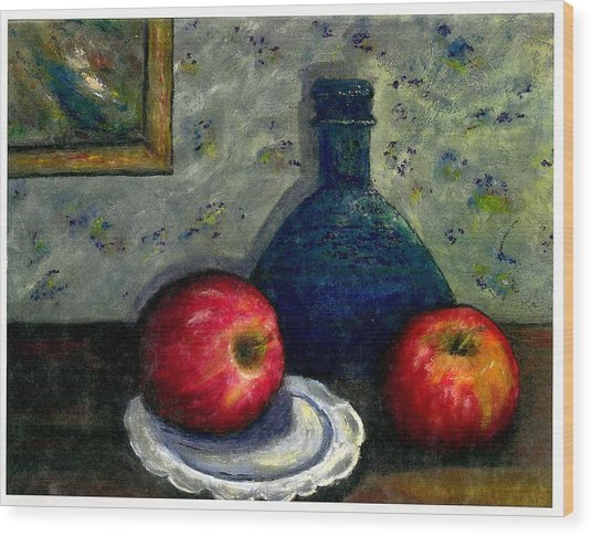 Apples And Bottles Wood Print