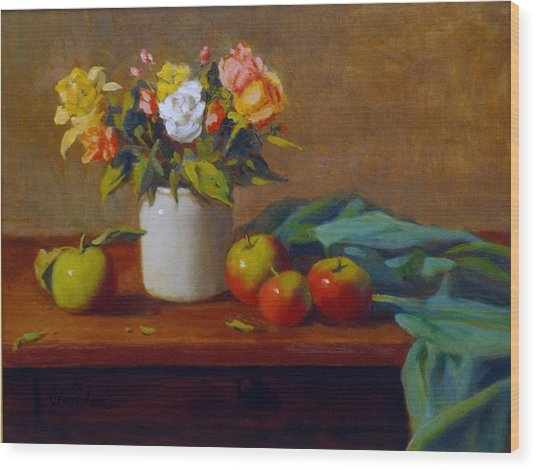 Apples And Flowers Wood Print by David Olander