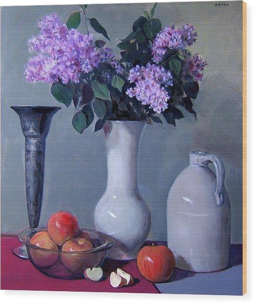 Apples And Lilacs, Silver Vase, Vintage Stoneware Jug Wood Print