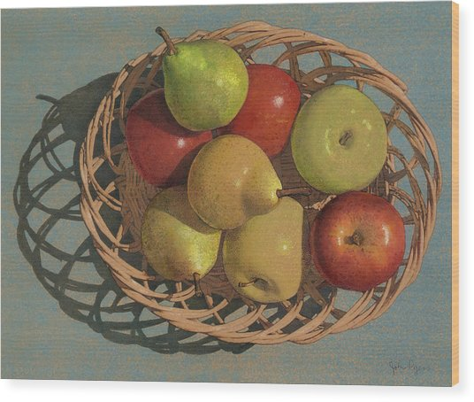 Apples And Pears In A Wicker Basket  Wood Print