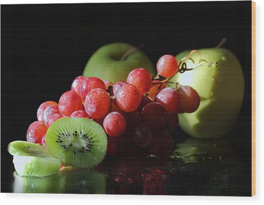 Apples, Grapes And Kiwi  Wood Print